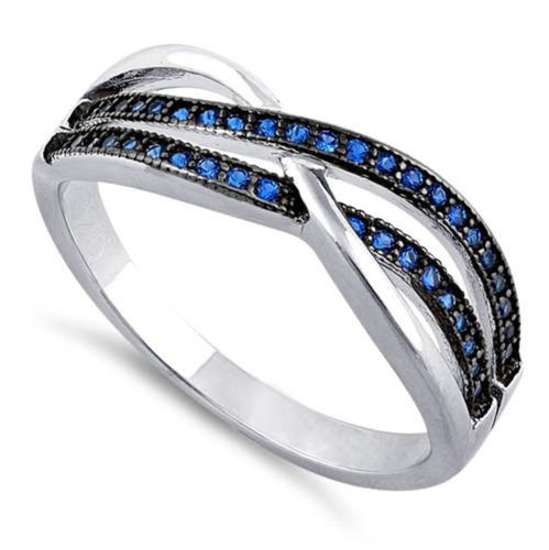 S/S Crossing Waves Blue CZ Ring - Size N