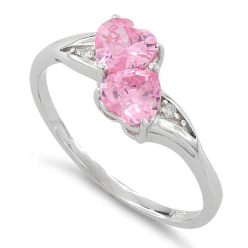 S/S Pink CZ Double Heart Shape Ring