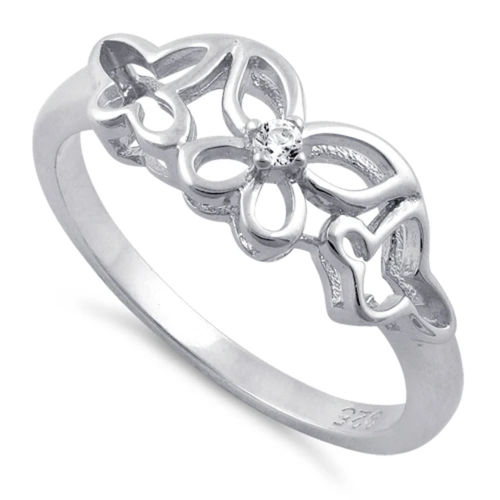 S/S Clear CZ Butterflies Ring