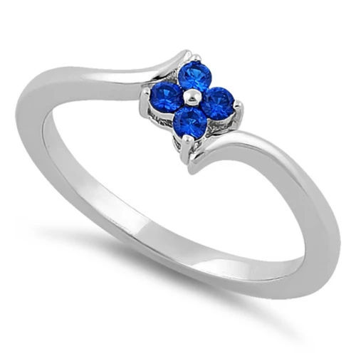 S/S Blue Spinel CZ Flower Ring