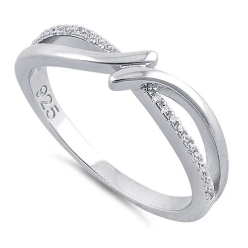 S/S Clear CZ Double Curve Ring