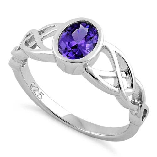 S/S Oval Amethyst CZ Celtic Ring