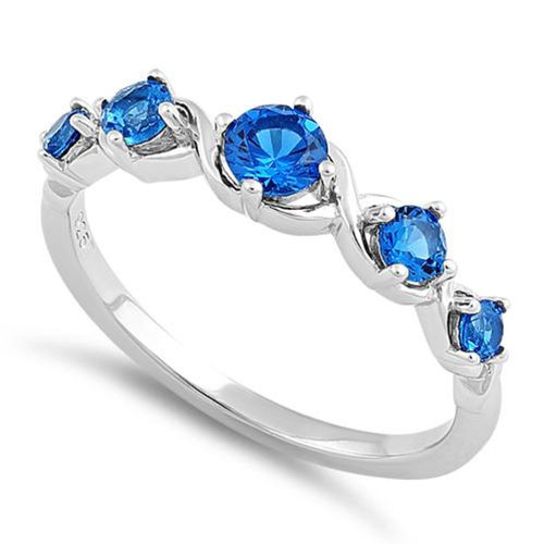 S/S 5 Blue Spinel CZ Ring