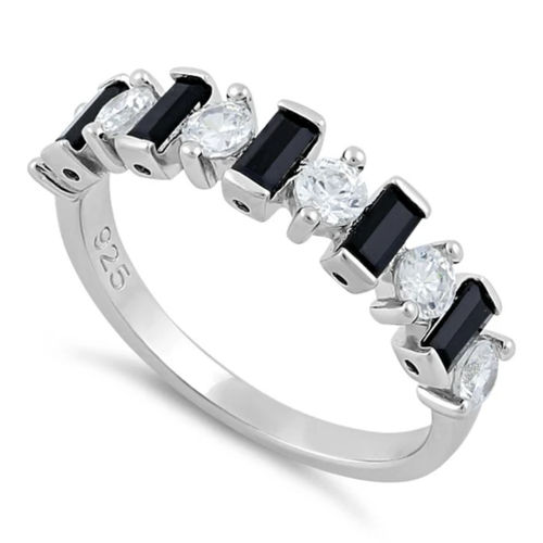 S/S Black and White CZ Ring