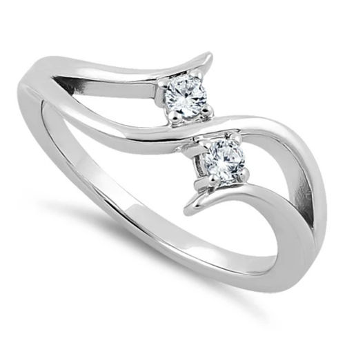S/S Double Clear CZ Ring