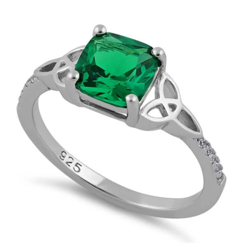 S/S Square Emerald Green CZ Celtic Ring