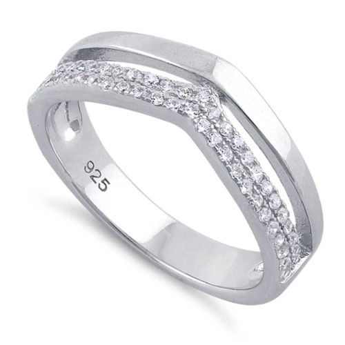 S/S Clear CZ Double V-Accented Ring