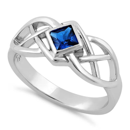 S/S Square Blue Spinel CZ Celtic Ring