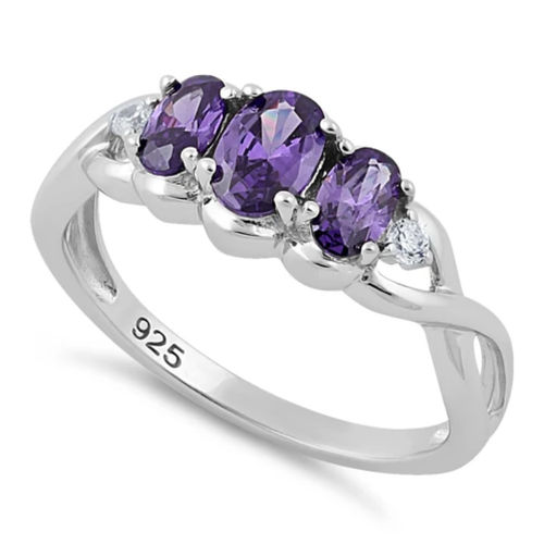S/S Triple Oval Amethyst CZ Ring
