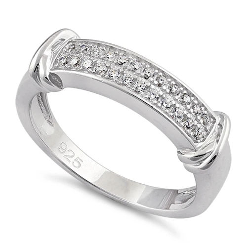 S/S Double Row Clear CZ Ring