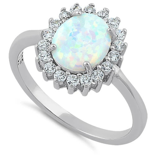S/S Oval White Lab Opal Clear CZ Ring