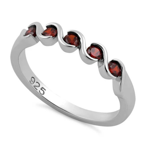 S/S 5 Dark Red Garnet CZ Ring