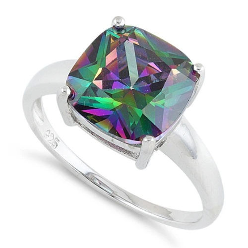 S/S Cushion Cut Rainbow Topaz CZ Ring