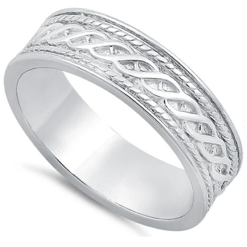Sterling Silver Twist Eternity Band Ring