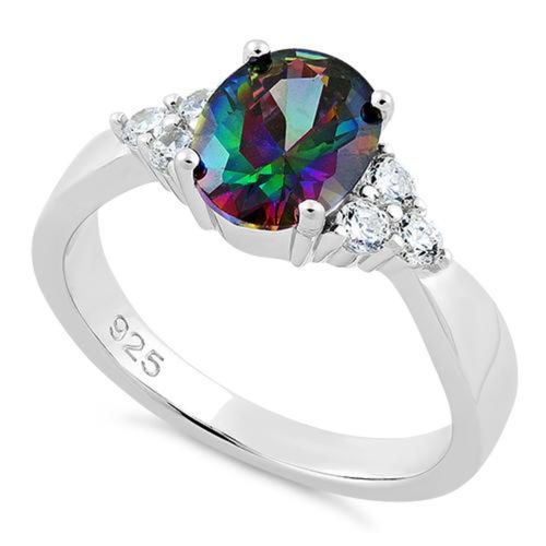 S/S Oval Rainbow Topaz CZ Ring