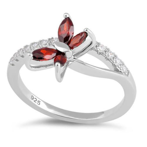 S/S Garnet and Clear CZ Butterfly Ring