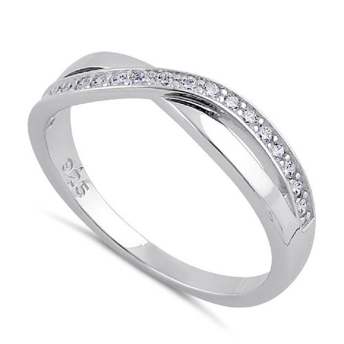 S/S Clear CZ Infinity Twist Ring