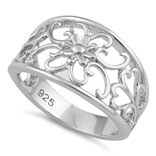 Sterling Silver Large Flower Swirl Ring