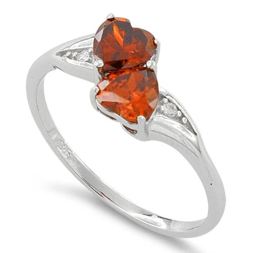 S/S Red CZ Double Heart Shape Ring