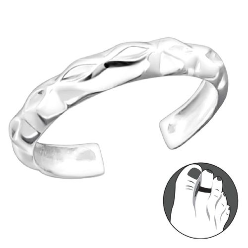 Sterling Silver Geometric Pattern Toe Ring