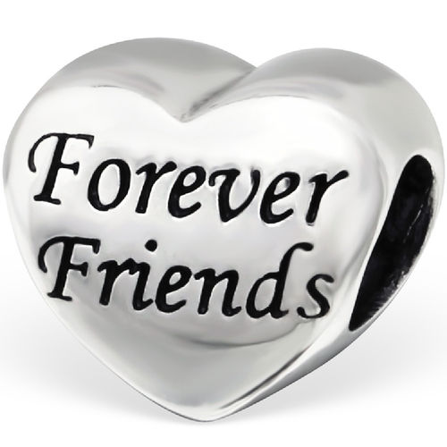 "Sterling Silver ""Forever Friends"" Heart Charm Bead"