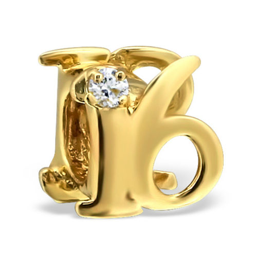"Sterling Silver Gold Plated ""16"" Charm Bead"