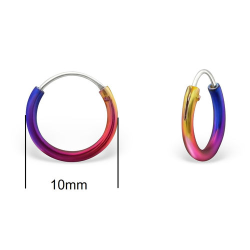 10mm Rainbow Sterling Silver Sleeper Hoops