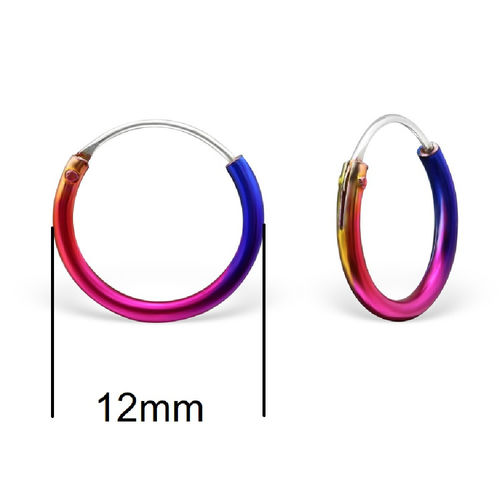 12mm Rainbow Sterling Silver Sleeper Hoops