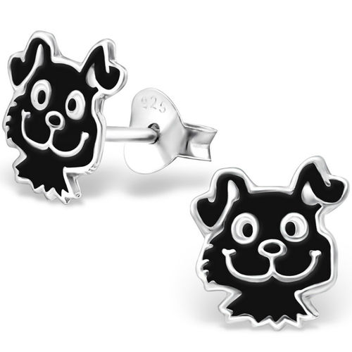 925 Sterling Silver Puppy Dog Stud Earrings