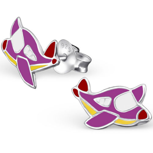 925 Sterling Silver Purple Plane Stud Earrings