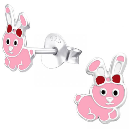 925 Sterling Silver Pink Bunny Rabbit Stud Earrings