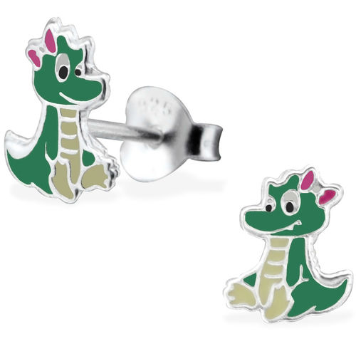 925 Sterling Silver Crocodile Stud Earrings