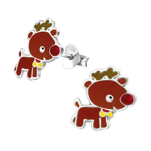 925 Sterling Silver Rudolph Stud Earrings