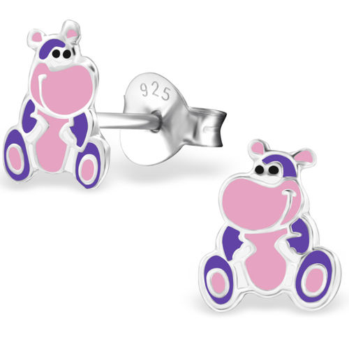 925 Sterling Silver Hippo Stud Earrings