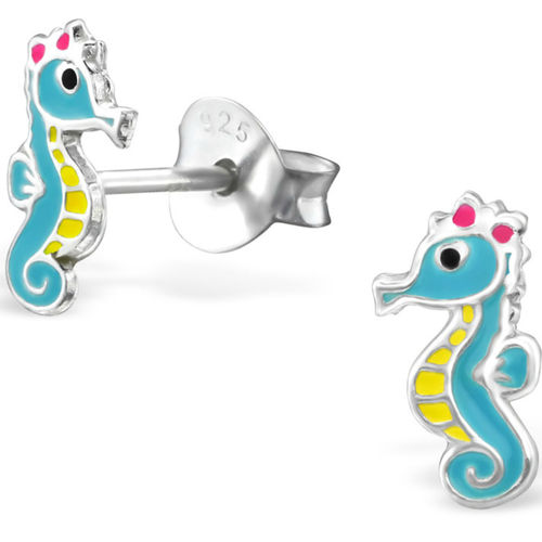 925 Sterling Silver Seahorse Stud Earrings