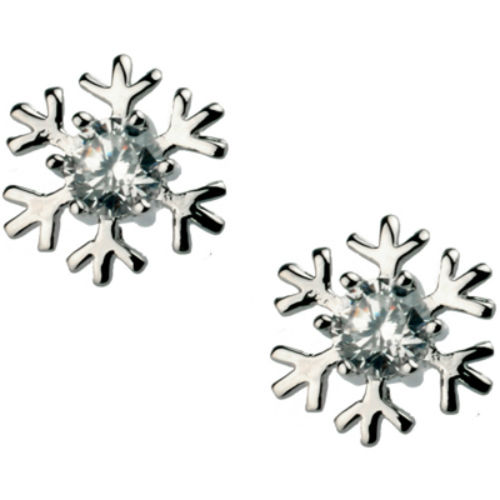 Sparkly White Gold Finish Snowflake Studs