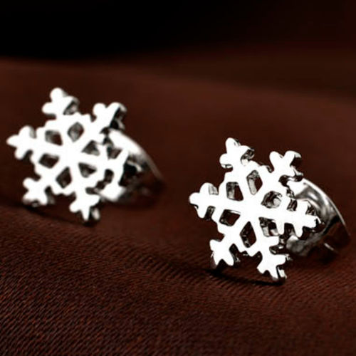 18ct White Gold Finish Snowflake Studs