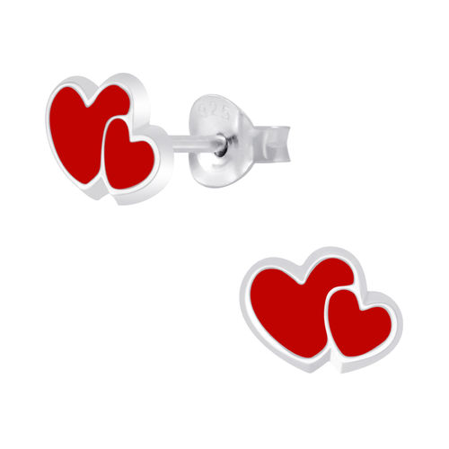 925 Sterling Silver Love Heart Stud Earrings