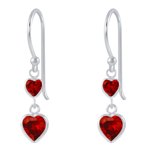 925 S/S Red CZ Heart Drop Hook Earrings