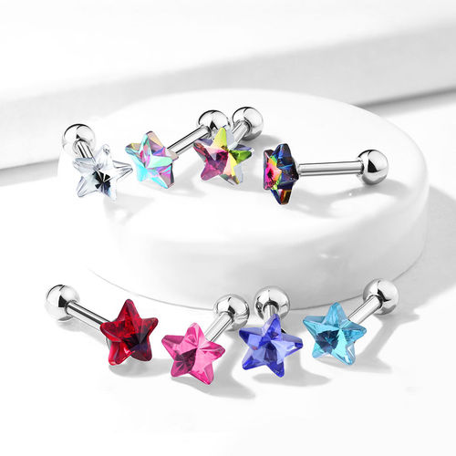 5mm Crystal Star Top Cartilage Piercing