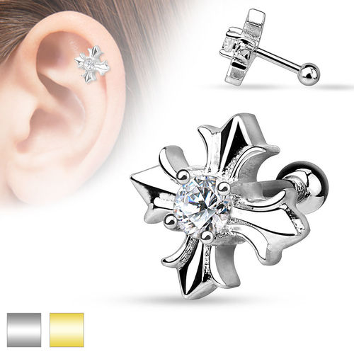 CZ Centered Celtic Cross Cartilage Piercing