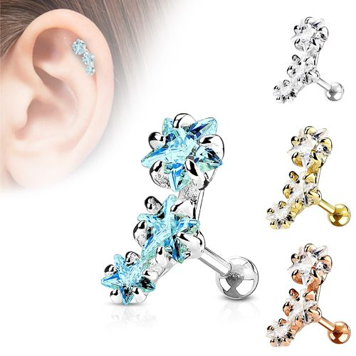 Triple Star CZ Cartilage Piercing